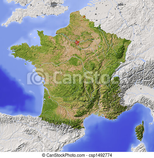 France, shaded relief map - csp1492774