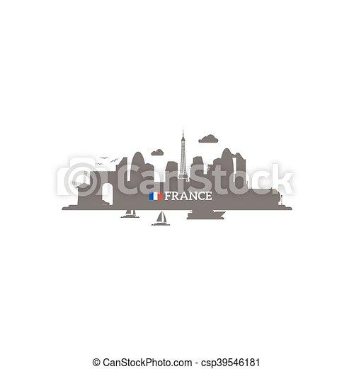 France skyline silhouette - csp39546181