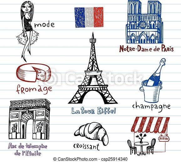 France symbols as funky doodles - csp25914340