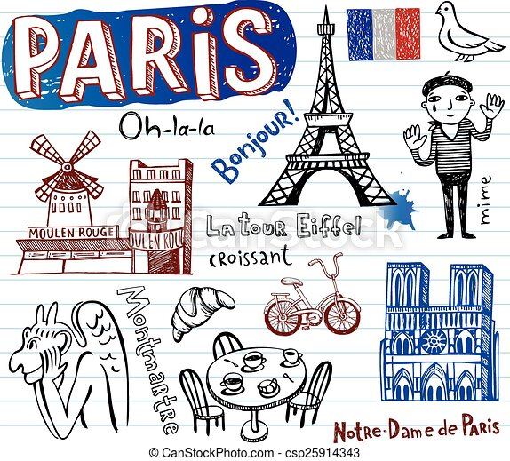 France symbols as funky doodles - csp25914343