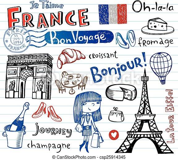 France symbols as funky doodles - csp25914345