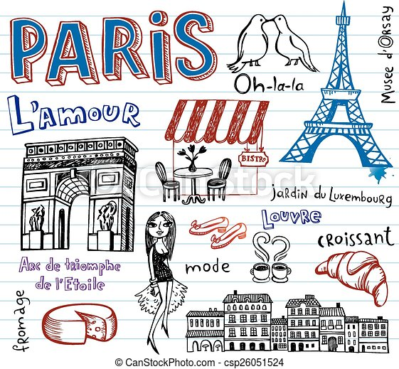 France symbols as funky doodles - csp26051524