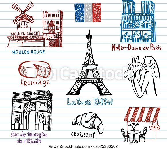 France symbols as funky doodles - csp25360502