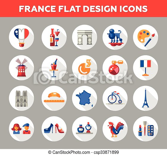 France Travel Icons And Elements With Famous French Symbols Set Of