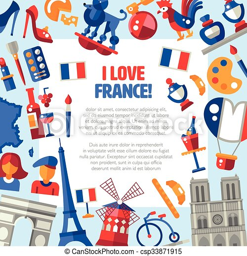france travel icons circle postcard with famous french symbols i rh canstockphoto com French Flag Clip Art French Border Clip Art