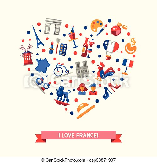 france travel icons heart postcard with famous french symbols i rh canstockphoto com Royal French Symbol Royal French Symbol