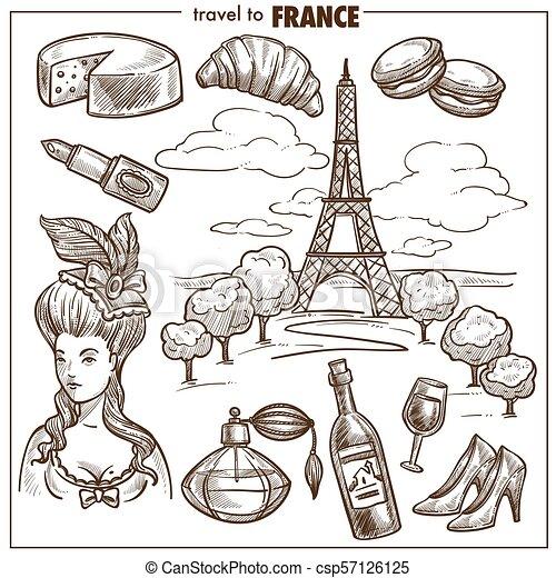 France Travel Landmark Vector Sketch Symbols France Tourism Travel