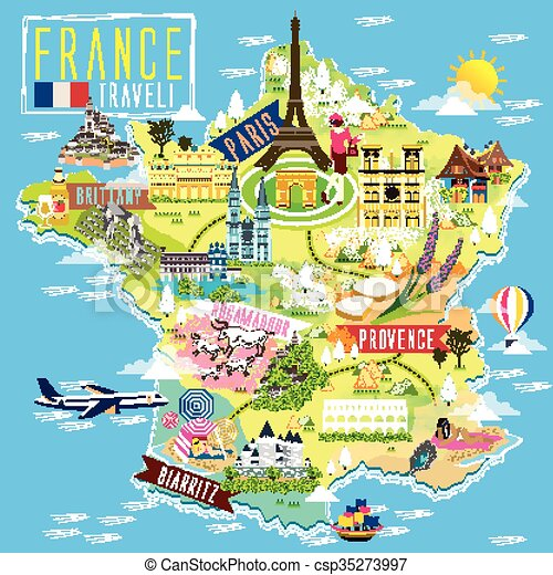 Lovely france travel map with attraction symbols france travel map csp35273997 gumiabroncs Images