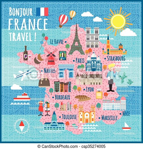 Travel Map Of France.Attractive France Travel Map With Attractions And Specialties