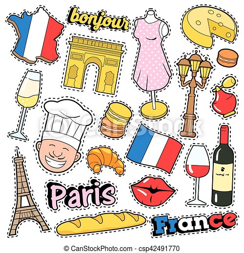 France Travel Scrapbook Stickers Patches Badges For Prints With