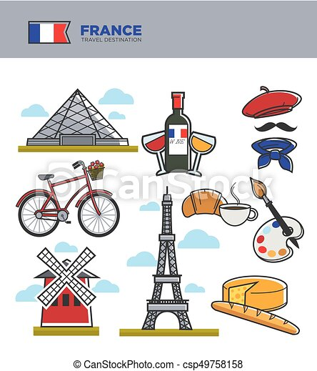 france travel tourism symbols and famous french culture