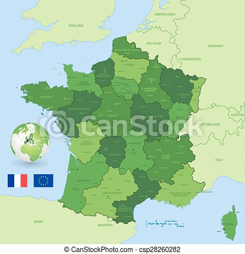 France vector green administrative map A green high detail