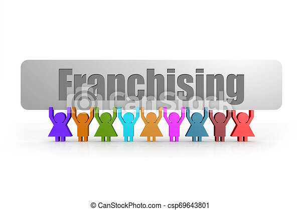 Franchising word on a banner hold by group of puppets - csp69643801