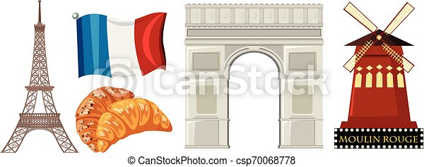 Un conjunto de elementos de Francia - csp70068778