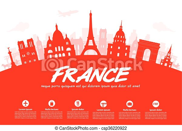 francia, parís, viaje, landmarks. - csp36220922