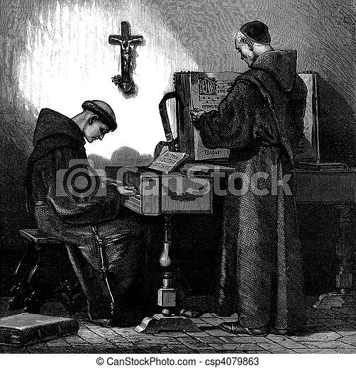 franciscan, ハープシコード, 修道士, 遊び - csp4079863