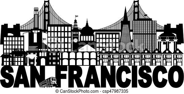 francisco, san, テキスト, イラスト, スカイライン, 黒, 白 - csp47987335