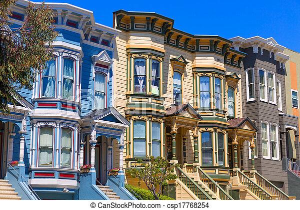 San Francisco siegreiche Häuser in pazifischen Höhen Kalifornien - csp17768254