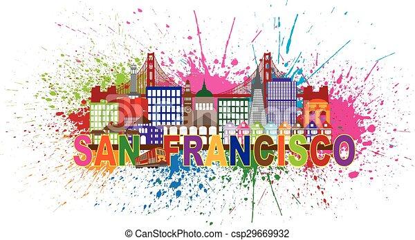 La ilustración de salpicaduras de pintura de San Francisco - csp29669932