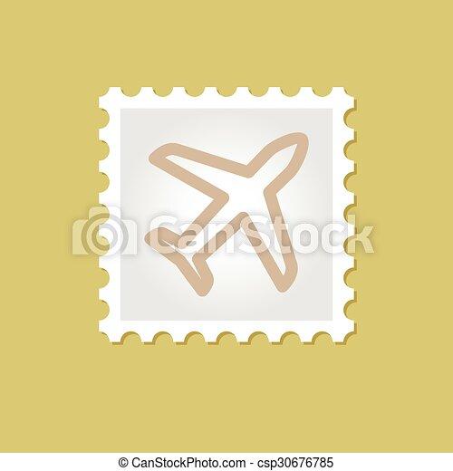 francobollo, aeroplano, vettore - csp30676785