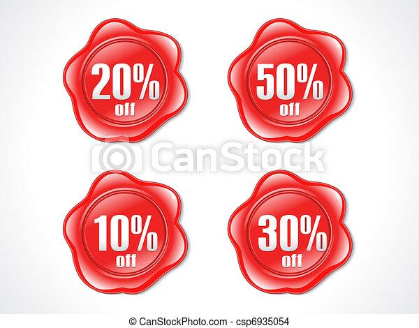 francobollo, astratto, plastica, scontare, baluginante, rosso - csp6935054
