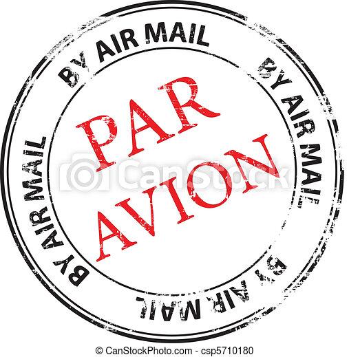 francobollo, avion, parità, vettore, grunge - csp5710180