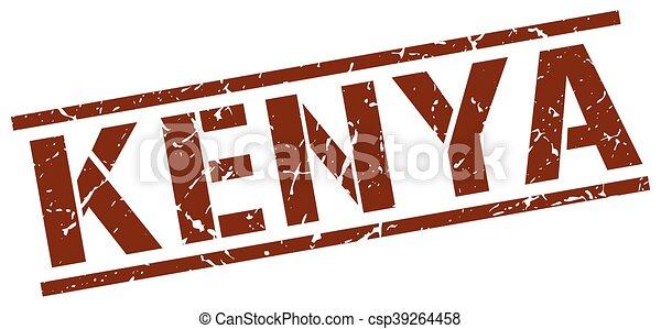 francobollo, kenia, quadrato, marrone - csp39264458