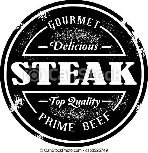 francobollo, vendemmia, stile, bistecca - csp8325749