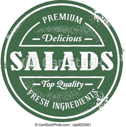 francobollo, vendemmia, stile, insalata - csp9023061