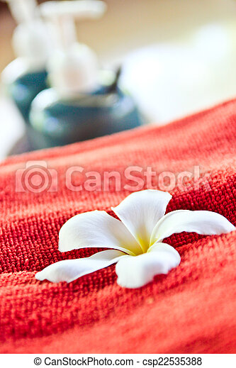 Frangipani on a red cloth. - csp22535388