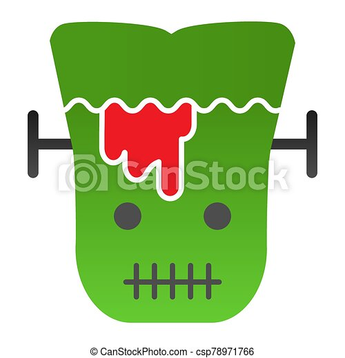 Frank man flat icon. Scary monster with sliced head. Halloween party vector design concept, gradient style pictogram on white background. - csp78971766