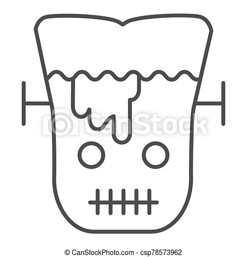 Frank man thin line icon. Scary monster with sliced head. Halloween party vector design concept, outline style pictogram on white background. - csp78573962