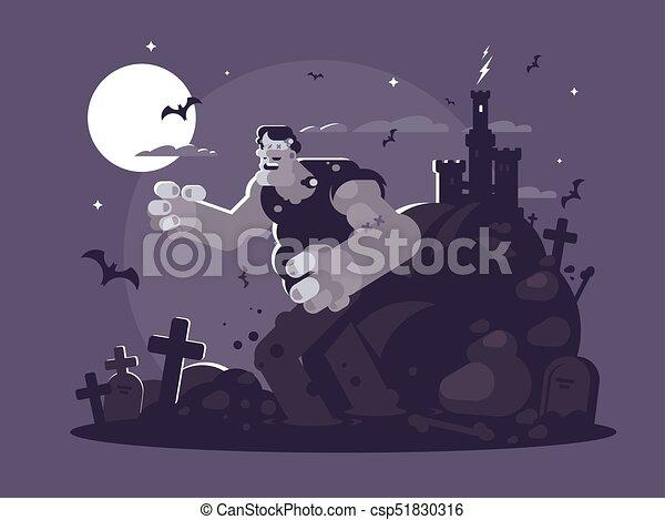 Frankenstein cartoon character - csp51830316