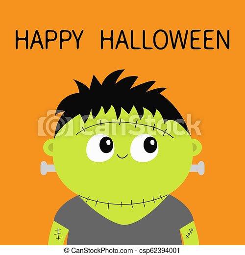 frankenstein head halloween orange - csp62394001