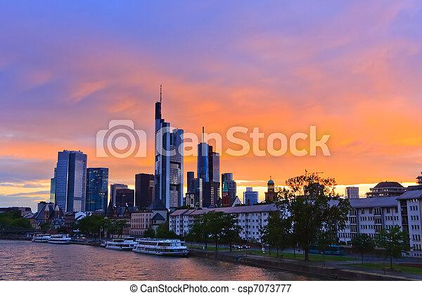 Frankfurt at sunset - csp7073777