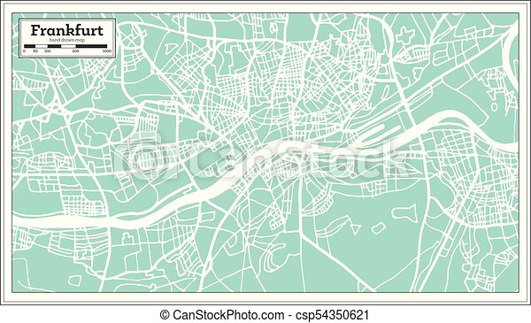 Frankfurt germany city map in retro style. outline map. vector ...