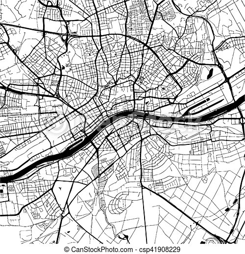 Frankfurt Germany Monochrome Map Artprint Vector Outline Version