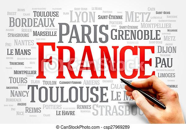 Moln Ord Begrepp Resa Lista Frankrike Stader