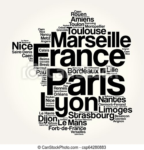 Frankrike Karta Byar Stader Lista Karta Begrepp Ord Affar Collage Resa Lista Frankrike Bakgrund Byar Stader