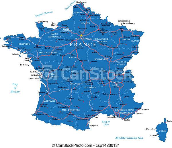 Frankrike Karta Frankrike Detaljerad Hogt Granne Huvudsaklig Stader Vektor Countries Redd Karta Omraden