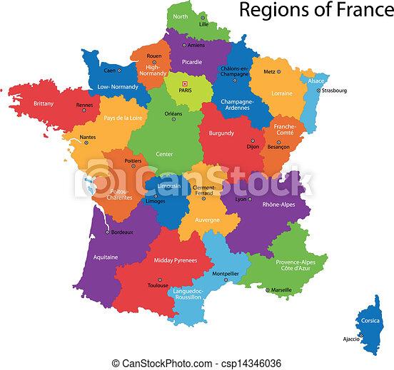 Frankrike Karta Frankrike Fargrik Stader Huvudsaklig Omraden Karta