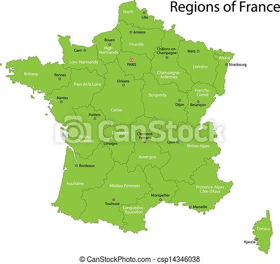 Frankrike Karta Gron Frankrike Stader Huvudsaklig Gron Omraden Karta