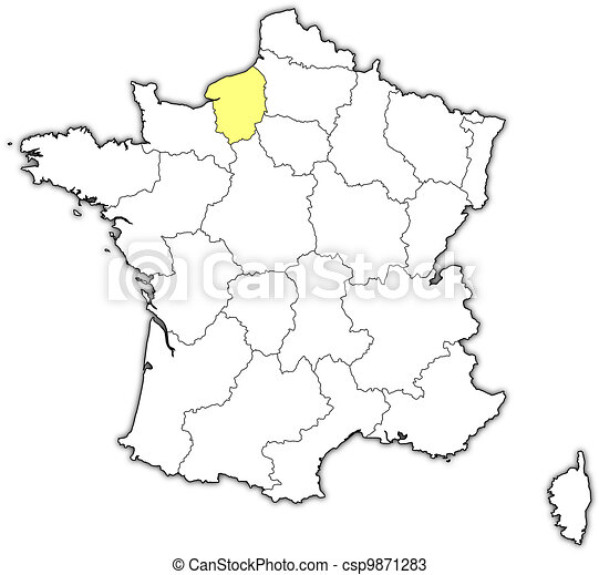 Frankrike Karta Markerad Normandie Ovre Karta Ovre Politisk