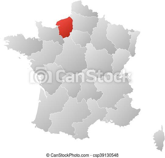 Frankrike Karta Normandie Ovre Ovre Linjar Karta
