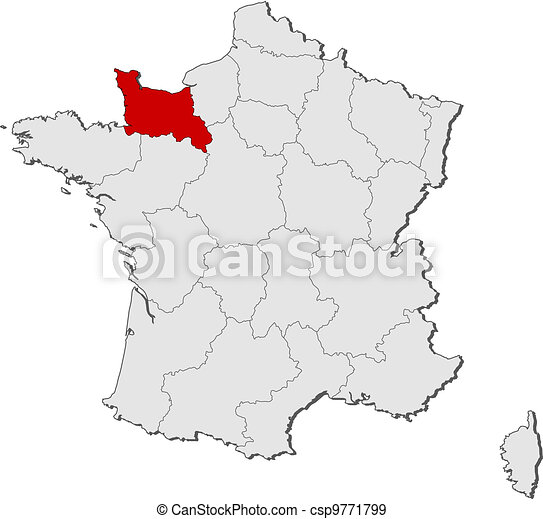 Frankrike Karta Sanka Markerad Normandie Karta Sanka