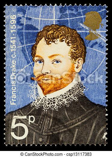 Sir Francis Drake famoso sello de exploración - csp13117383