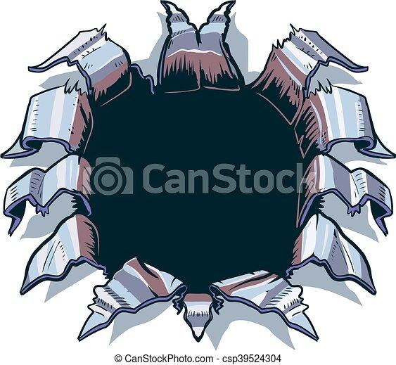 frapper, métal, trou, feuille, dehors - csp39524304