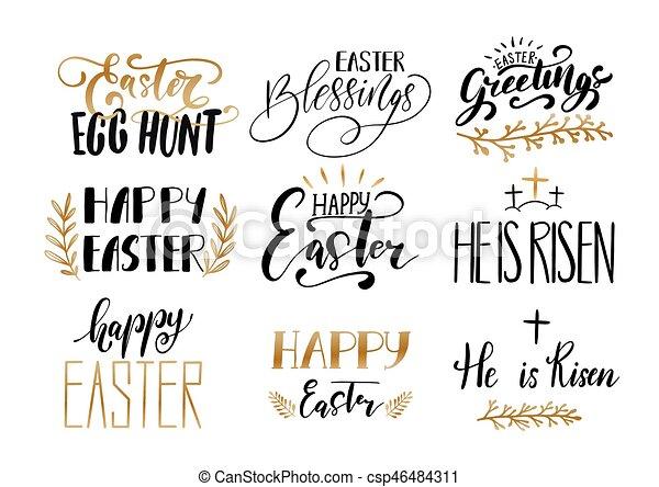 Frases Manuscrito Desenho Cobrança Páscoa Dourado Lettering