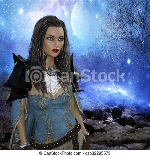 3D Darstellung von Frau, Fantasie. - csp32295573