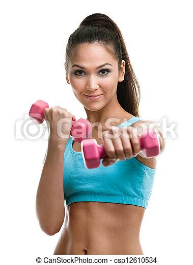 frau, athletische, junger, hanteln, arbeiten, heraus - csp12610534